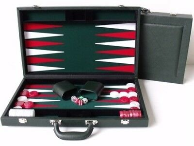 Dal Rossi Luxury 15″ 38 cm Green PU Leather Backgammon Set NEW!