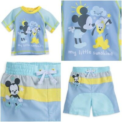 1eb90572d8 Disney Store Mickey Mouse Baby Boy Swimsuit & Rash Guard Pastel Blue Swim  Trunks