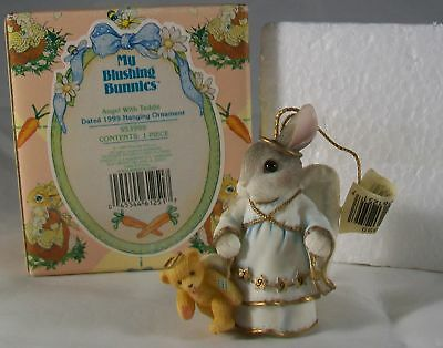 Enesco My Blushing Bunnies Christmas Ornament Angel With Teddie 1999 w/ Box