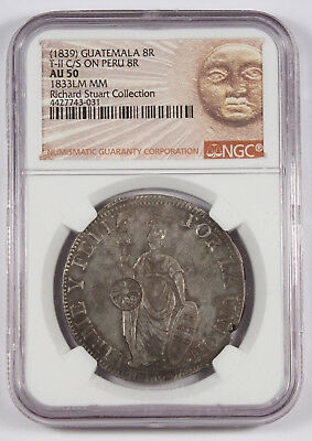 GUATEMALA 1839 8 Reales Silver Coin Countermark Type II on Peru 1833-LM NGC AU50