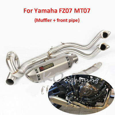 Motorcycle Exhaust Muffler Front Link Pipe Slip On System For Yamaha FZ07 MT07