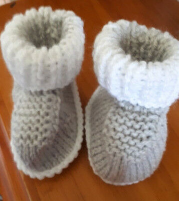 Hand Knitted Pair Of Uggy Boots  Baby Grey/white  O To 3 Months