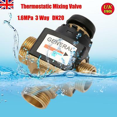 Genuine Solid Male Brass 1.6MPa 3 Way DN20 Thermostatic Mixing Blending Valve UK