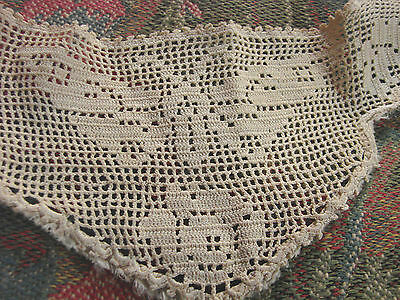 Vintage Filet Lace Collar EC Edwardian Butterfly Yoke Beige crochet Moth