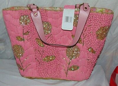 5d69d50045 NEW SIGRID OLSEN Pink Straw Leather Sequin Flower Purse Handbag NWT  158.
