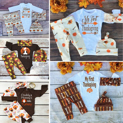Thanksgiving Newborn Baby Boy Girl Outfits Clothes Romper Leggings 3PCS Set USA