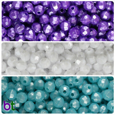 BeadTin Pearl 6mm Faceted Round Craft Beads (750pcs) - Color choice