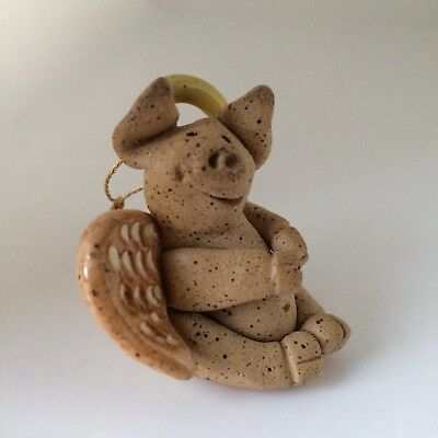 Little Guys Angel Pig Ornament Handmade Pottery Cindy Pacileo from Mid 1990s