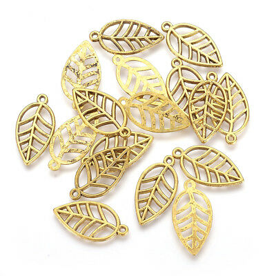 50pcs Tibetan Alloy Filigree Leaf Charms Antique Gold Hollow Dangle Charms 23mm