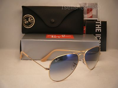 Ray Ban LARGE METAL (RB3025-001/3F 58) Gold w/ Crystal Gradient Light Blue Lens