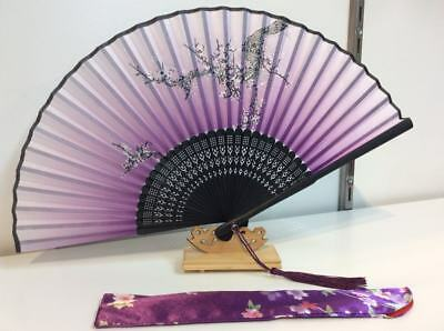 Japanese Silk Hand Fan - Cherry blossom with Silk Fan Holder F056P