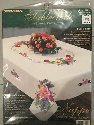 Dimensions Tablecloth Stamped Cross Stitch Flowers And Berries 73214