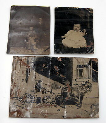 Antique Lot Of 3 Tin Type Photographs Horse Drawn Carriage, Boys And Baby Nr