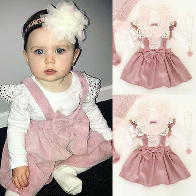 Toddler Kid Baby Girl Top T-shirt Pink Suspender Skirt Dress Outfit Set Clothes