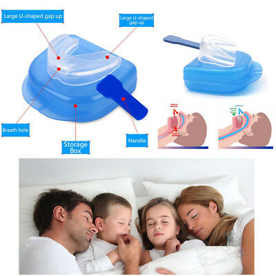 Silicone Anti Snore Device Stop Snoring Sleeping Aid Mouth Guard Mouthpiece Care
