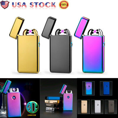 Windproof  Dual Arc Electric Plasma Flameless USB Rechargeable Cigarette Lighter