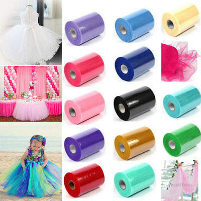 "6"" Inch 25 Yard Tulle Fabric Roll Spool Bow Tutu DIY Craft Wedding Party Decor"