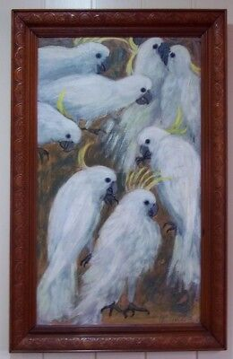 Oil Painting of Sulphur Crested Cockatoos , by Pat Mouldsworth , circa 1967