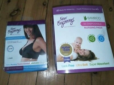 New Beginning Breastfeeding Bra NEW Size L 50 pack disposable bamboo nursing pad