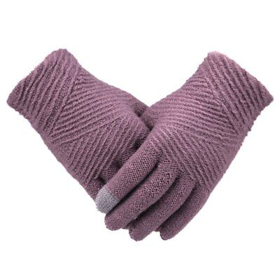 Women Winter Knitted Gloves Warm Soft Full Finger Touch Screen Gloves Mittens