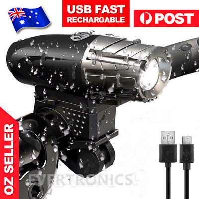 USB Rechargeable Warning Bike Bicycle Light LED Waterproof Front lights Torch