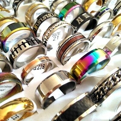 50pcs New Mix Lot Men's Women's Quality Stainless Steel Fashion Ring Men Gift