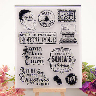Christmas Santa Transparent Silicone Clear Stamp Scrapbook Embossing Album VQ