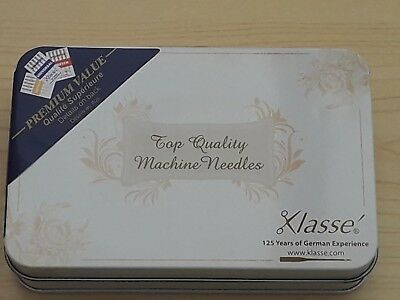 BNWT- Klasse Storage Tin with 10 sets of Assorted Sewing Machine Needles