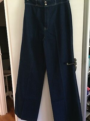 BNWT Vintage Womens 70's High Waisted Flare Jeans Size 18, Long Leg