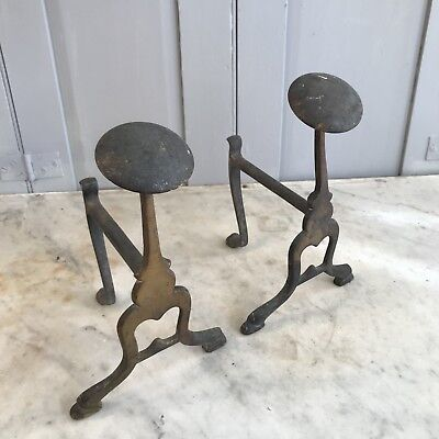 Pair of antique Art Nouveau brass firedogs