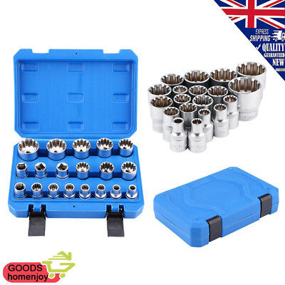 19pc 1/2inch Drive Steel 6/12 Point Hex Torx Star Splined Bit Socket Set E10-E40