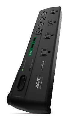 APC 8-Oultet Surge Protector Power Strip with USB Charging Ports, 2630 Joules,