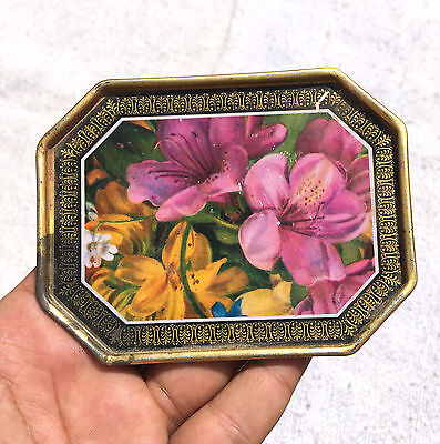 Vintage Beautiful Flowers Printed Expo Litho Tin Tray- Red-Hill , England