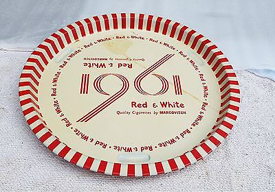 1961 Vintage Scarce Marcovitch Red & White Cigarette Ad Round Tin Tray/plate