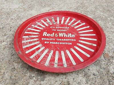 1960's VINTAGE MARCOVITCH RED & WHITE CIGARETTE AD ROUND TIN TRAY/PLATE, ENGLAND