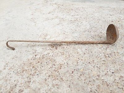 Old Primitive Handmade Swirl Design Iron Spoon