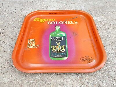 1950's VINTAGE RARE COLONEL'S PURE MALT WHISKY-MOHAN MEAKIN's BREWERIES TIN TRAY