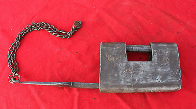 Antique Old Iron Handcrafted Unique Shape Engraved Tricky / Puzzle Padlock