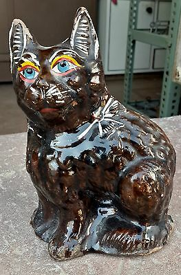 1900's ANTIQUE RARE HAND MADE & PAINTED TERRACOTTA PUSSY CAT  FIGURE / STATUE
