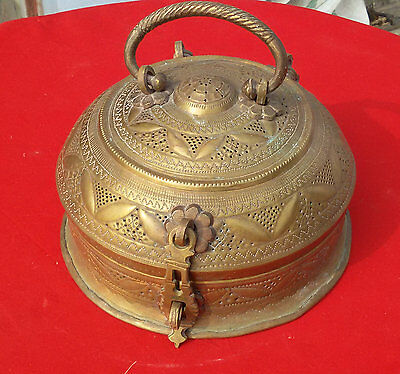 Old Early Mughal Brass Hand Carved Jali Cutting Islamic Royal Jewellery Box