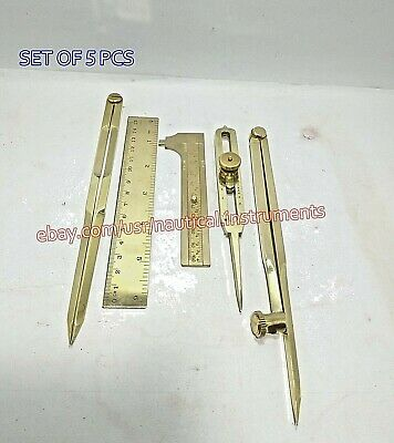 Set of 5 Pcs Solid Brass Navigation Hand Tools With Wooden Box