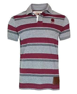 MENS SMALL Official ENGLAND RFU Rugby 1871 Cotton Striped Polo Shirt Top T Grey