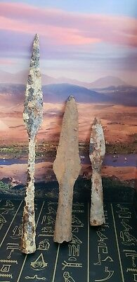 VIKING  THREE SOCKETTED SPEARHEADS X 3 RARE TYPE 8th-9th century AD