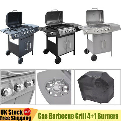 Stainless Steel Gas Barbecue Grill 4+1 Burners Garden Party BBQ Grill W/ Cover