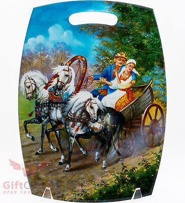 Wooden cheese cutting board Russian horse troika & couple of peasants handmade