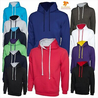 New Mens Womens Contrast Hooded Sweatshirt Casual Sports Varsity Hoody Pullover