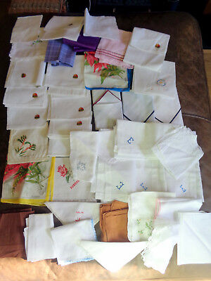 Job Lot Vintage Handkerchiefs Hankies 40 Items Embroidered Lace Printed