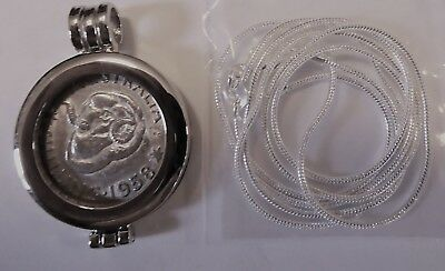 COIN PENDANT 1958 50% silver SHILLING in Bezel with a silver Chain