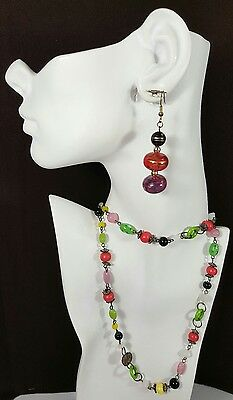 Vtg Jewelry Necklace Earrings Pink Green Yellow Black Acrylic Beads Unique #15