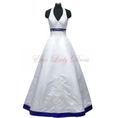 Vintage Satin Embroidery Wedding Dresses Ball Gown Formal Bridal Gowns New